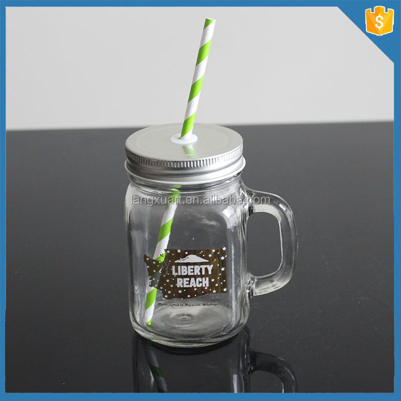 high quality transparent glassware glass pump mason jar with lid and straw