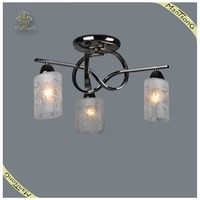 European style Black chrome glass shade light fixture of ceiling, wrought iron ceiling light