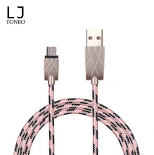 Double color nylon braided Zinc Alloy Micro v8 fast charging data sync USB cable cable