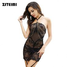 New Chemise Sleepwear Lace Dress G-string Halter Transparent Doll Lingeries