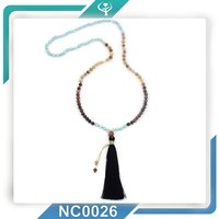 2016 Jewellery Beaded White Tassel Necklace With Jade&Agate
