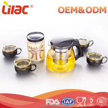 chinese wholesale custom hight Borosilicate Heat Resistant 2.5-2.5mm thickness glass tea pot sets