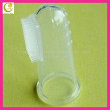 Lovely silicone baby toothbrush teether/transparent silicone baby brush/silicone baby finger toothbrush