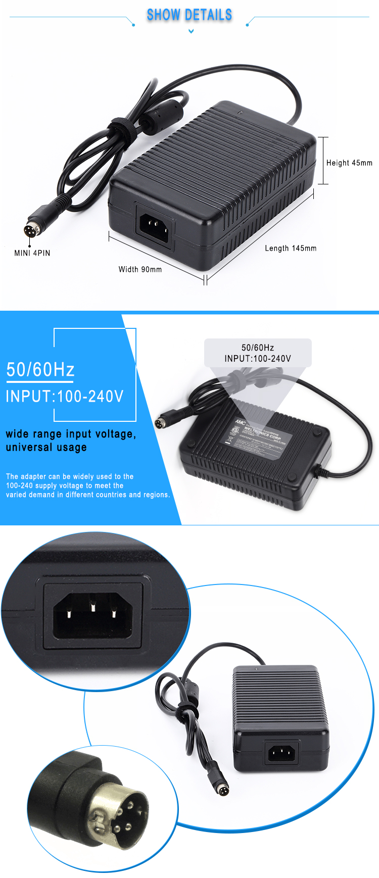 CE approved single output 6v power adapter 15a 90w ac dc adapter
