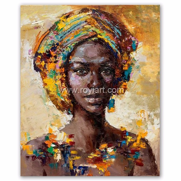 Wholesale modern african art women portrait oil painting on canvas
