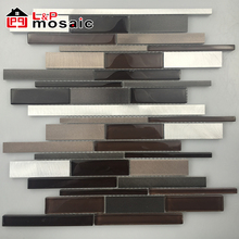 Hot sale linear strip glass metal mosaic tiles for backsplash,interior wall decoration
