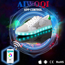 AIWOQI Bluetooth APP Remoted and Normal Led Shoes for Men &Women Light Up Shoes 7 Colors USB Charging Light shoes
