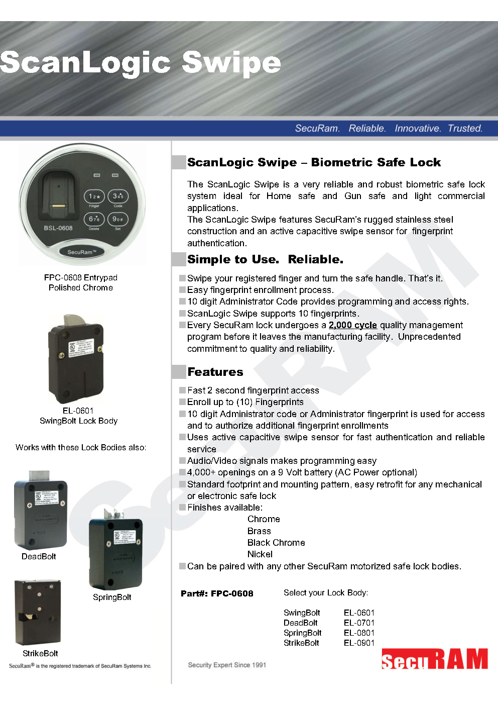 Biometric safe lock