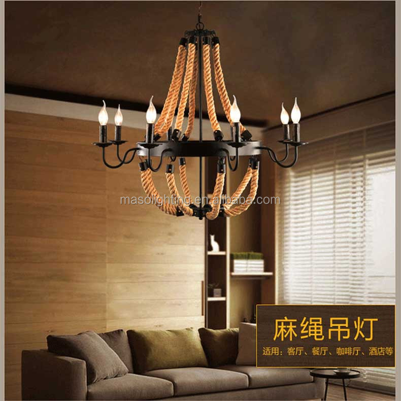 Zhongshan lighting industrial vintage pendant lamp hemp rope big luxury chandelier