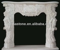 Hand carved wall mounted gas fireplace mantel