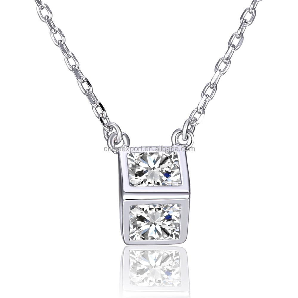 Fashion 925 silver jewelry fake diamond necklace