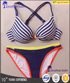 Sexy popular stripe print bandeau top and color block bottom swimsuits.