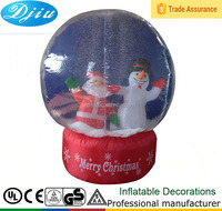 120cm Christmas Inflatable Snow Globe with Led lights Santa and Snowman Inside