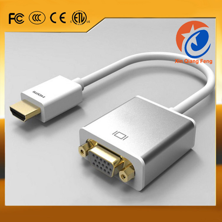 Gold plated silver male hdmi to female vga converter cable adapter with free audio cable and USB power