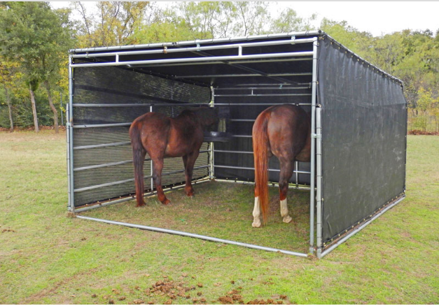 6'D x 12'W x 6'H mini horse shelter with 2 sided covered