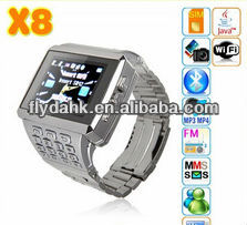 X8 Watch mobile phone with wifi/java/bluetoothe/FM/keypad