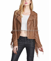 Hot Selling Good Quality Pretty Tassel Design Pure Color Biker Jacket Wears For Ladies