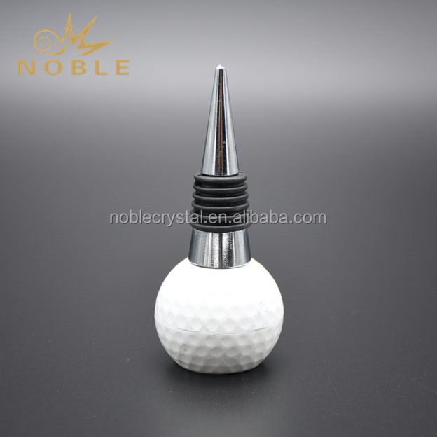 Customized Resin Golf Ball Metal Wine Stopper