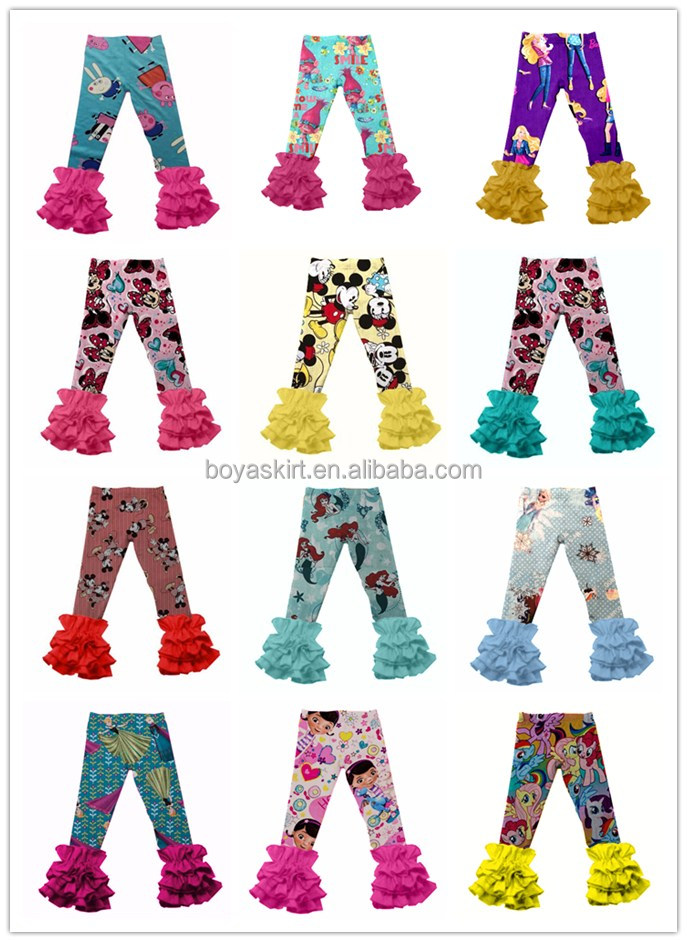 Wholesale girls pants icing ruffle pants baby ruffle pants leggings