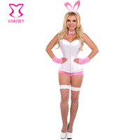 Sexy Woman Halloween Cosplay Costumes Party Role Play Adult White Rabbit Costume Bunny Outfit Carnival Uniforms