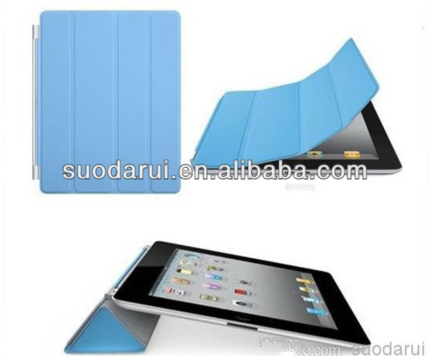 Transparent PC Hard Back Cover Smart PU Leather Case for iPad 2 3 4 for iPad 4