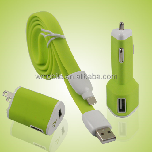 Mobile Phone Accessories USB Travel Charger Sets 3 in1 Car Charger Kit