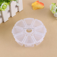 Round 8 grid bead jewelry packing boxes, hooks electronic components packaging transparent plastic storage drug box case