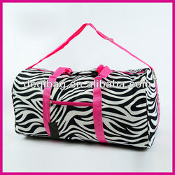 Zebra DUFFLE Bag TOTE Dance Carry On Travel Gym Cheer Pink Fuschia