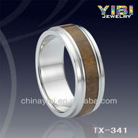 Hot christmas unisex christmas gifts tungsten wood grain ring maple leaf pendant ring
