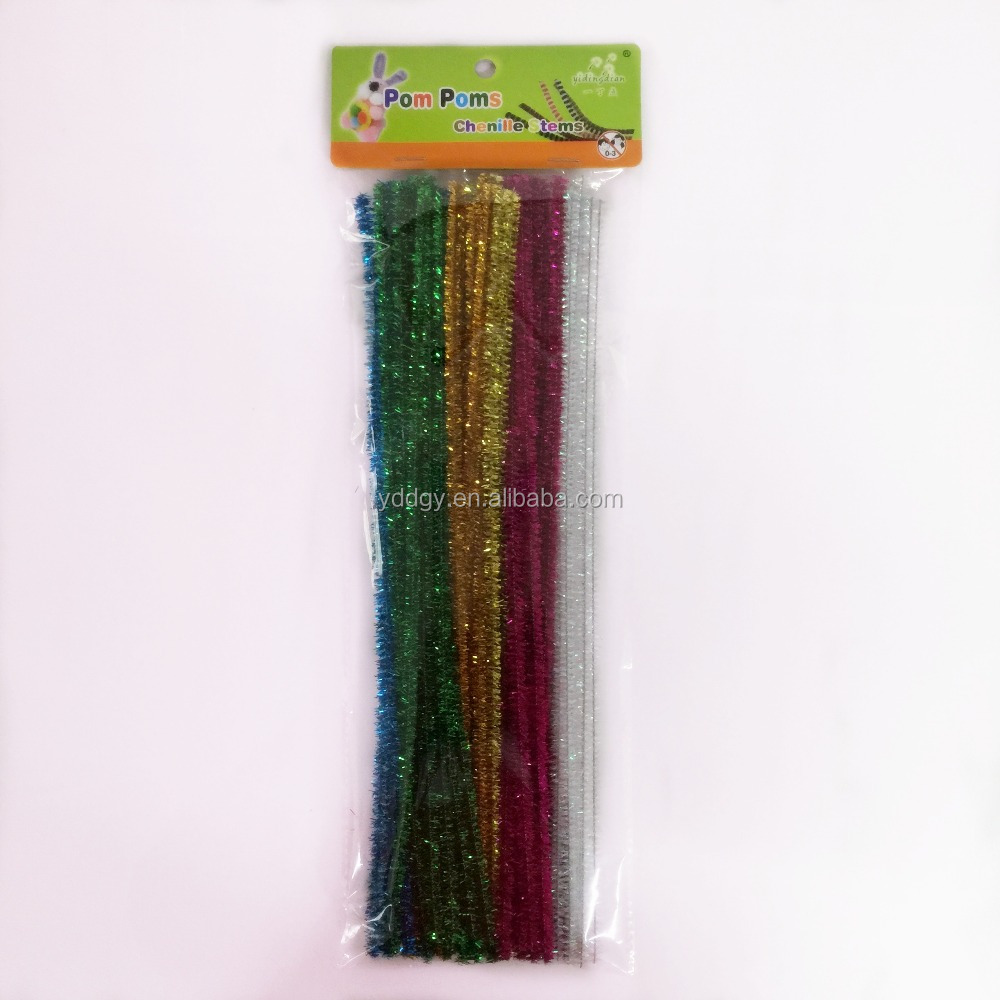 Factory supply DIY crafts 0.6*30cm tinsel glitter pipe cleaners chenille stems toys for kids or wedding party decoration
