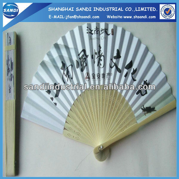 newest design high quality Spanish wood fan for business gift item