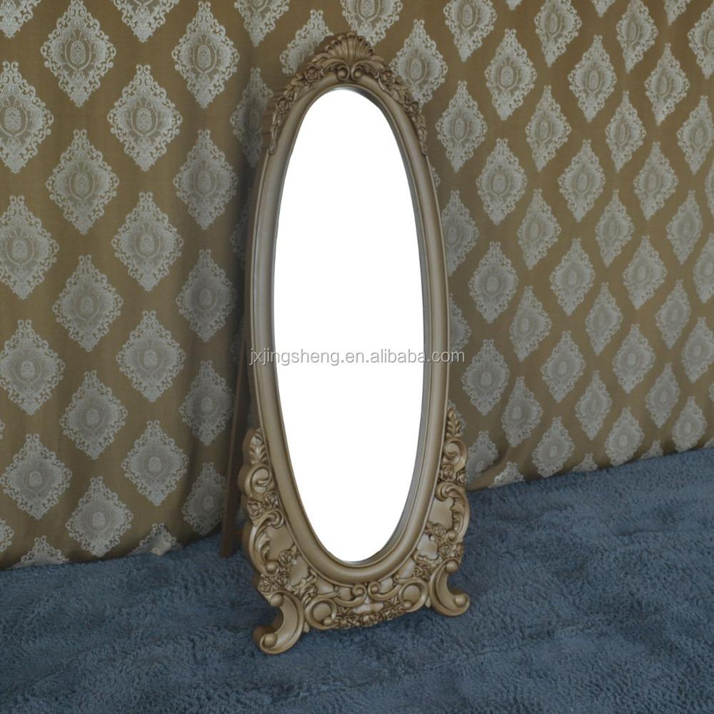 Antique luxury gold free standing mirror furniture dresser for Gold standing mirror