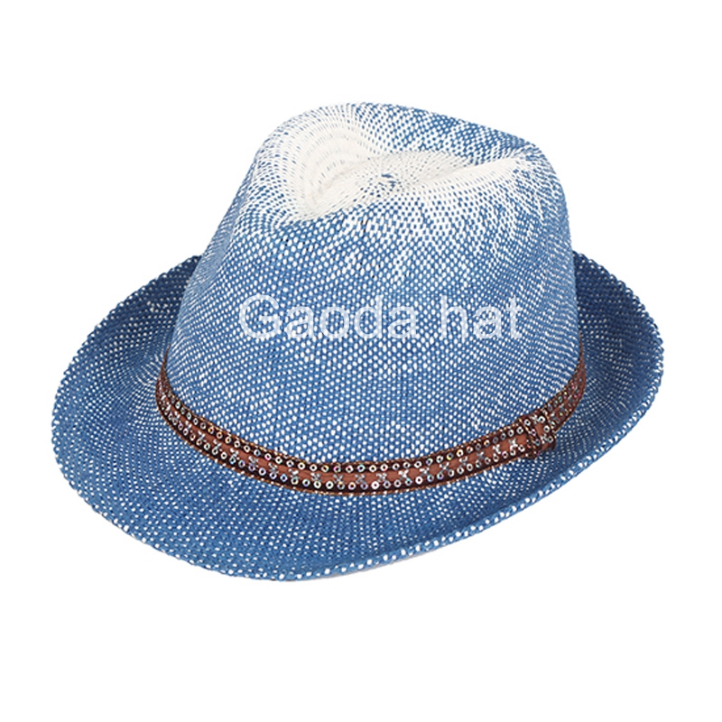 Fashion blue fedora paper straw hat