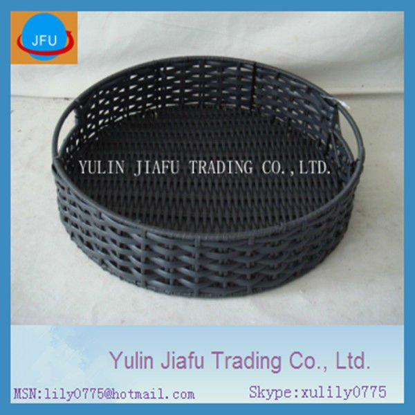 Handmade Weaving Black Round Elegant Plastic Storage Basket Rattan Tray    Salver. Buy Plastic Basket Tray from Trusted Manufacturers  Suppliers