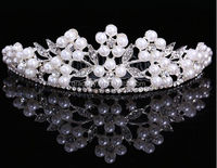 Elegant Wedding Bridal Pearl Floral Tiara Crown with Comb