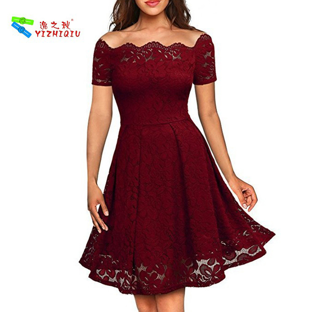 YIZHIQIU Lace Boat Neck Cocktail Formal Swing Dress