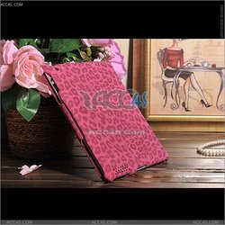 Leopard Skin Print Pink leather cover case stand for Apple new ipad /ipad 2--P-IPAD2CASE098