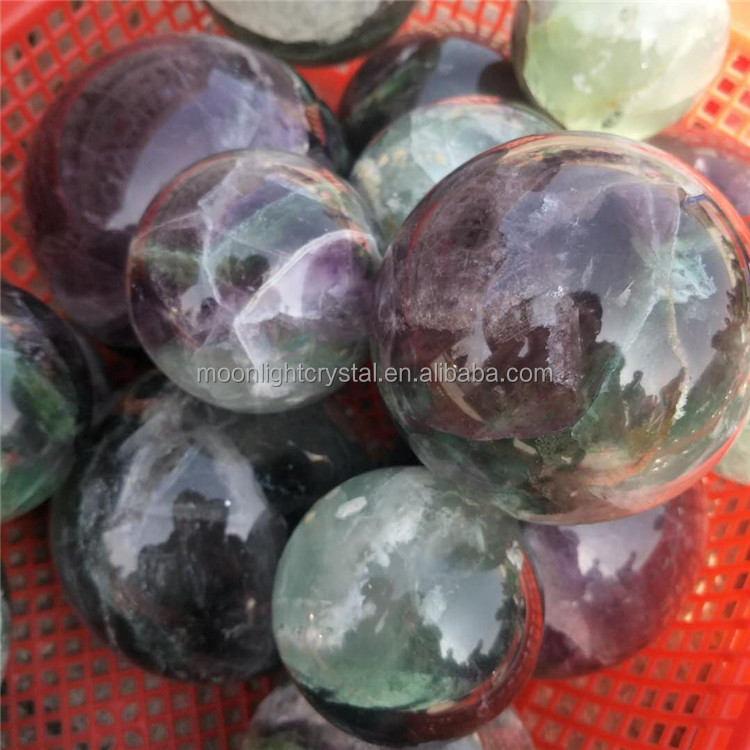 50mm - 70mm rainbow <strong>crystal</strong> purple and green fluorite ball for decoration