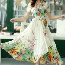 D20815Q 2014 NEW DESIGNS BOHEMIA STYLE SHORT SLEEVE PRINTED SLIM LONG SUMMER CHIFFON DRESS FOR WOMEN