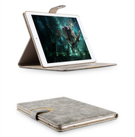 Suede Leather Smart Flip Cover case for iPad 6, For Ipad Stand Case leather