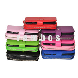 Premium PU Leather Zipper Wallet Bag Case Detachable Magnetic Mobile Phone Bags Cases Cover for iPhone 4 4S