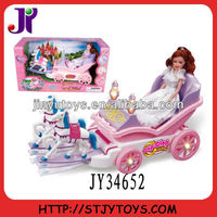 Electric musical toy baby princess doll carriage toy with light