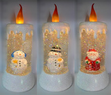Battery Electric Led Light Flickering Acrylic Water Glitter Liquid Christmas Candle Light