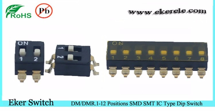 6 Pole IC Type 12 PIN DIP Switch Thru - hole With RoHS