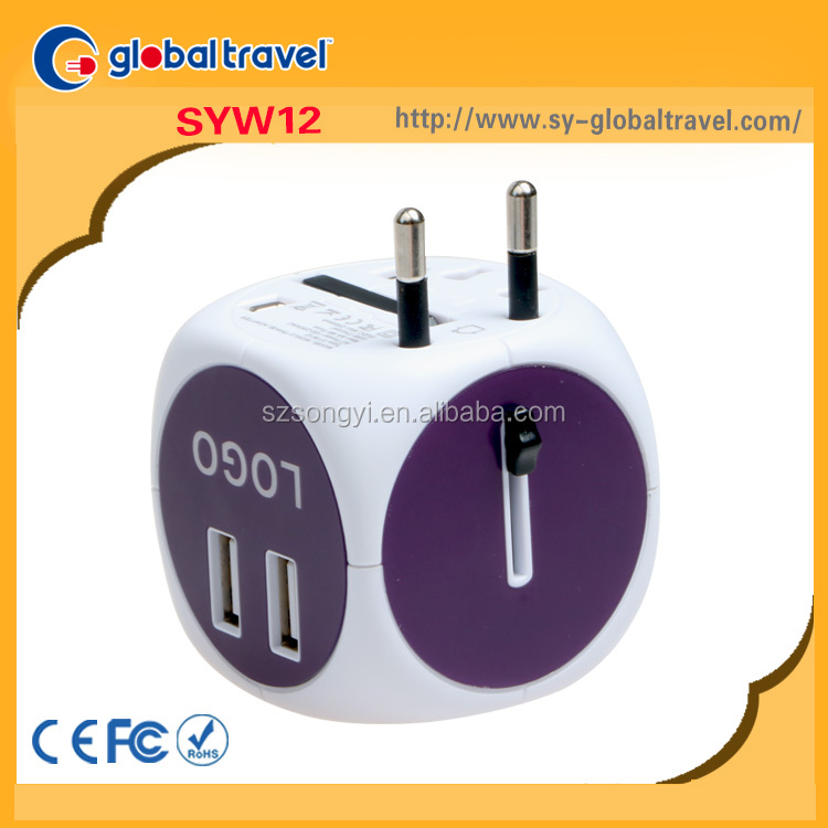 All In One High Quality Super Fast Charging UK USA EURO AUS Plug 5V 2.4A CE ROHS FCC Certification Travel Universal Adapter