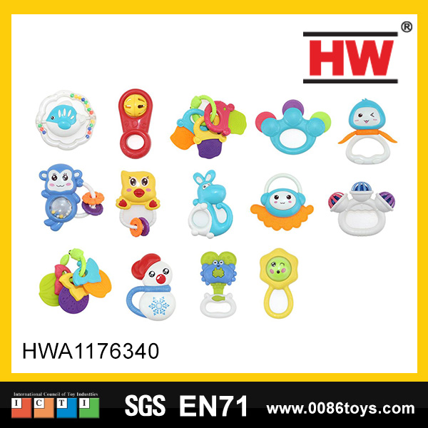 Hot sale plastic tambourine baby musical toys the mini rattle for kids(14pcs)