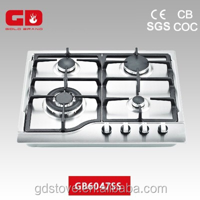 2016 New cooker appliances stainless steel cooktops with cast iron pan support 4 burner built in gas hob