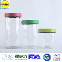 Food and coffee storage bottle type colorful steel lid Pyrex glass storage canisters