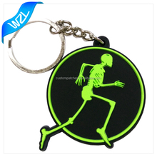 Custom made shaped cheap 2D glow in the dark soft PVC Rubber keychain