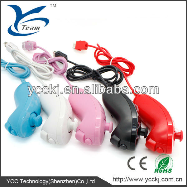 for wii wired nunchuck remote five colors